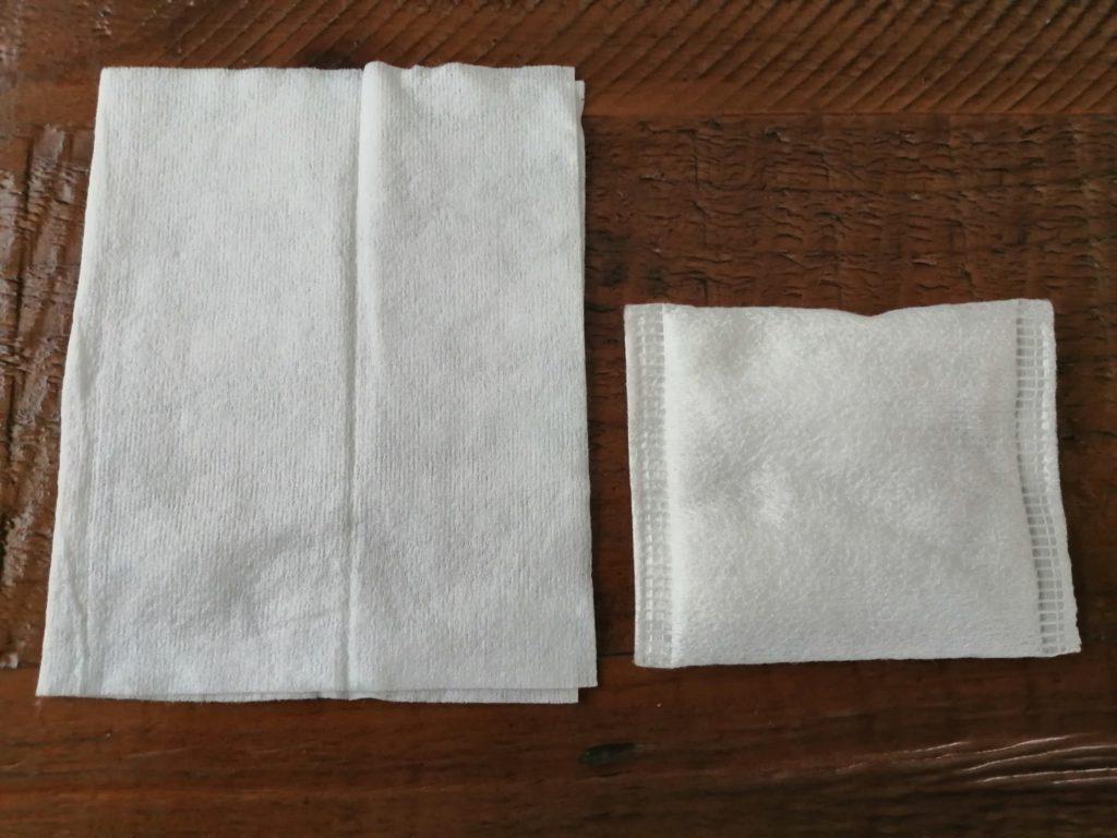 ズボラボ朝用拭き取りシートとコットンの比較画像